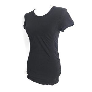 Athleta Top Black Ruched Tee Short Sleeve Stretch